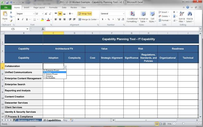 Mike The Architect Blog - Capability Planning Tool Worksheet